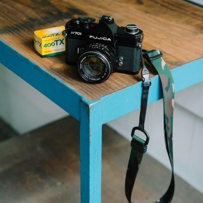 M1a Camera Strap in Classic Camo on the Fujica ST701, loaded with Kodak Tri-X 400