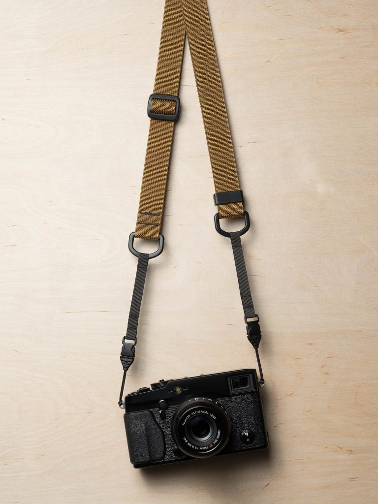 M1a Mirrorless Camera Strap in Coyote Brown with Fujifilm X-Pro1