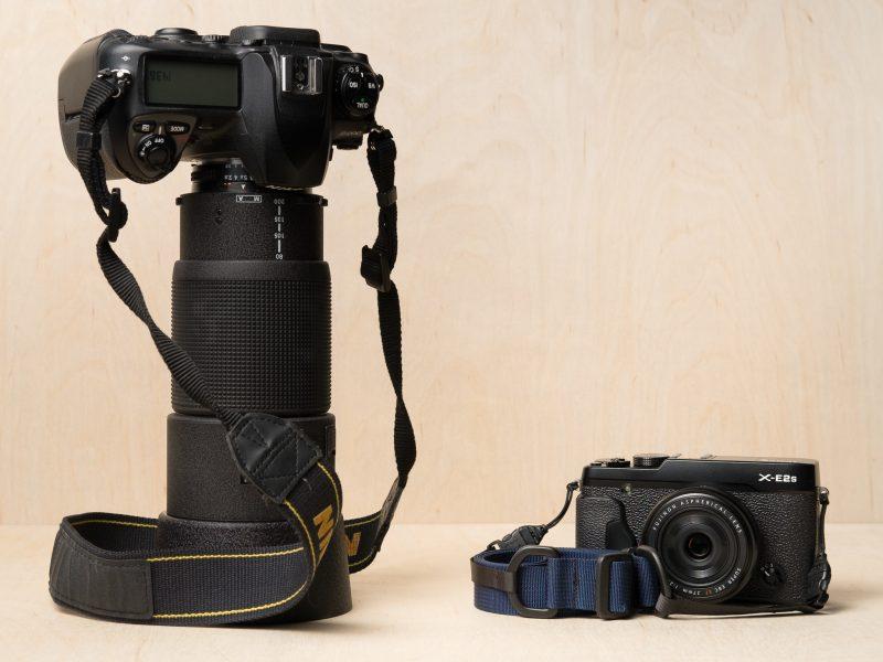 M1a Mirrorless Camera Strap, Fuji vs. Nikon Size Comparison