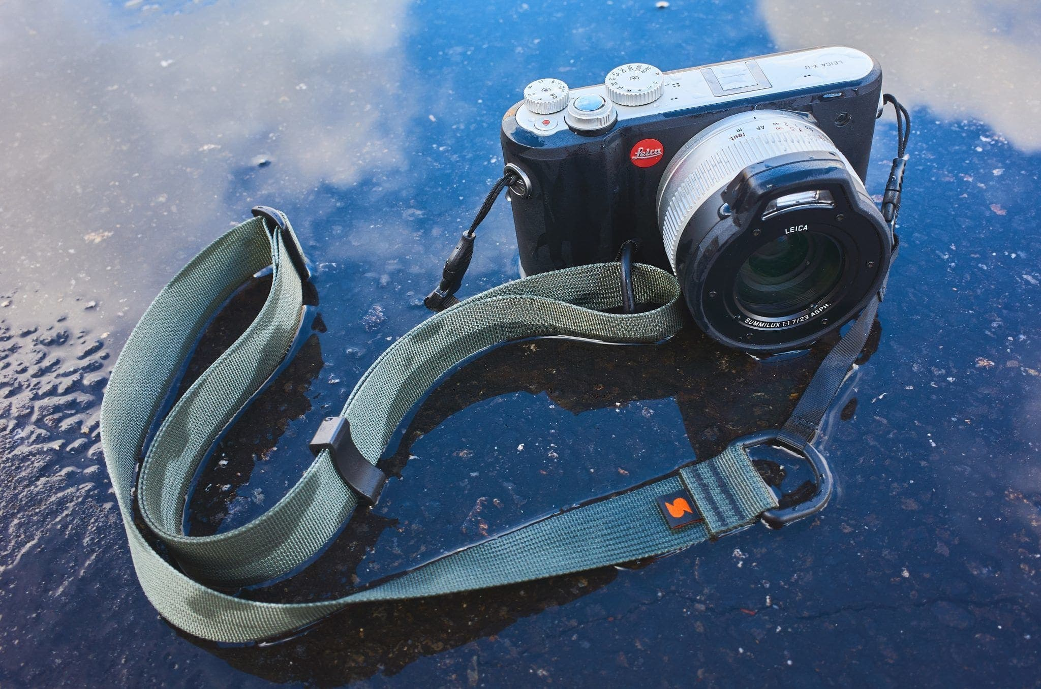 Waterproof Leica with Waterlogged M1a camera strap