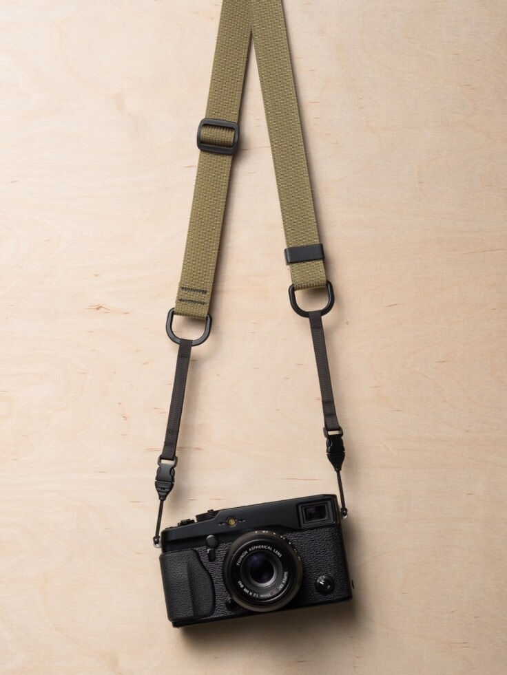 M1a Mirrorless Camera Strap in Khaki on Fujifilm X-Pro1