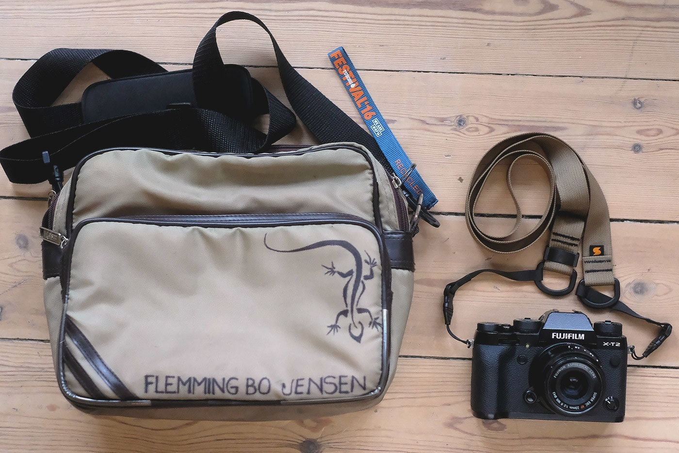 Flemming Bo Jensen's Bag and Fuji X-T2 with Simplr Mirrorless Camera Strap