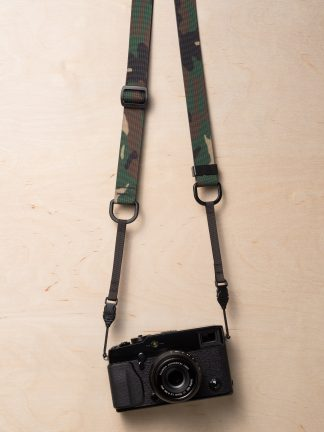 M1a Mirrorless Camera Strap in Classic Camouflage on Fujifilm X-Pro2