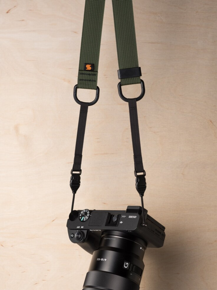 Simplr M1a Mirrorless Camera Strap in Camo Green on Sony Alpha a6300
