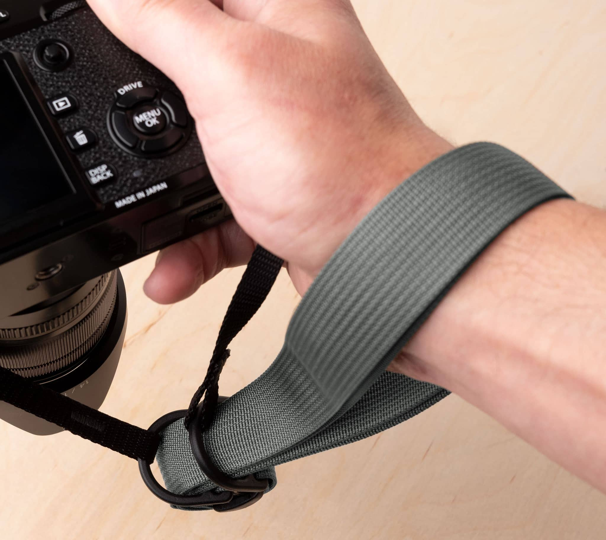 F1 camera strap as an improvised wrist strap