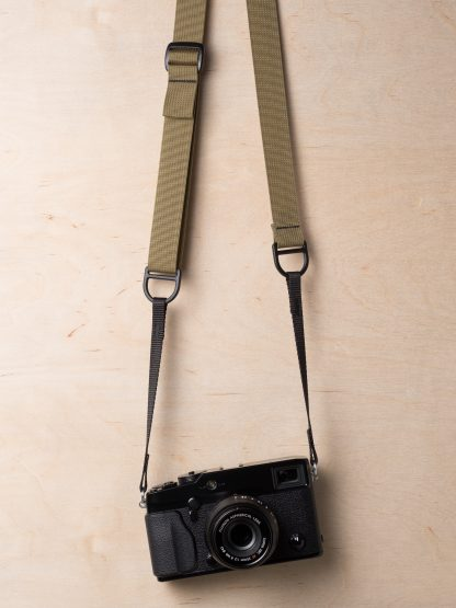 Simplr F1 Camera Sling Strap on Fuji Mirrorless in Army Khaki