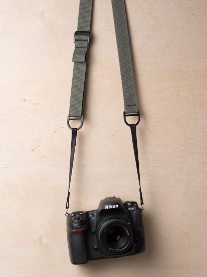 Simplr F1 Camera Sling Strap on Nikon DSLR in Castor Gray