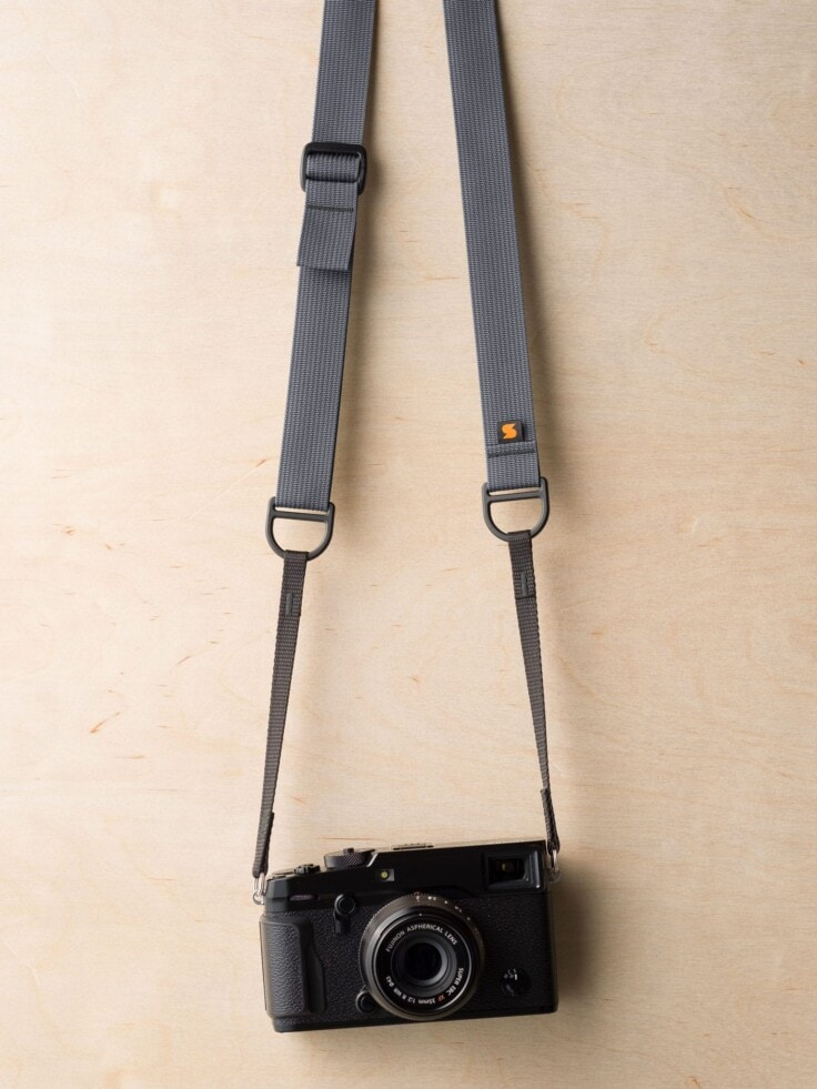 Simplr F1 Camera Strap in Wolf Gray on Fuji X-Pro2