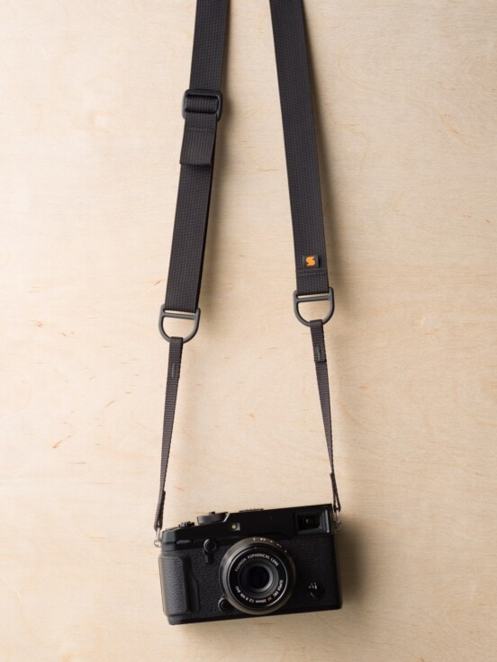 F1 Sling Style Camera Strap on Fuji X-Pro2 in Black