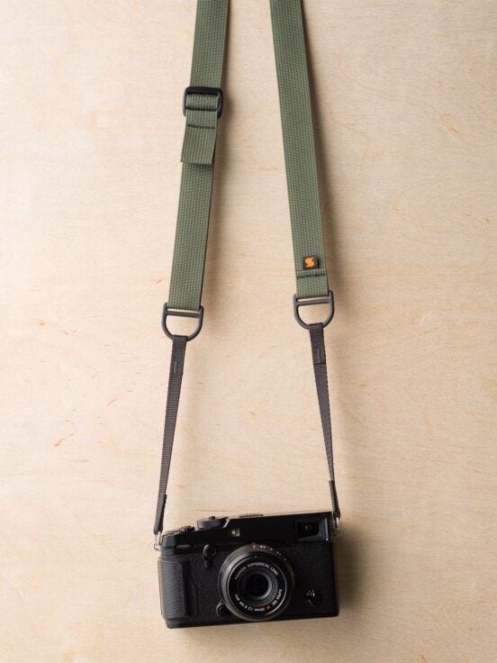 F1 Sling Style Camera Strap on Fuji X-Pro2 in Camo Green