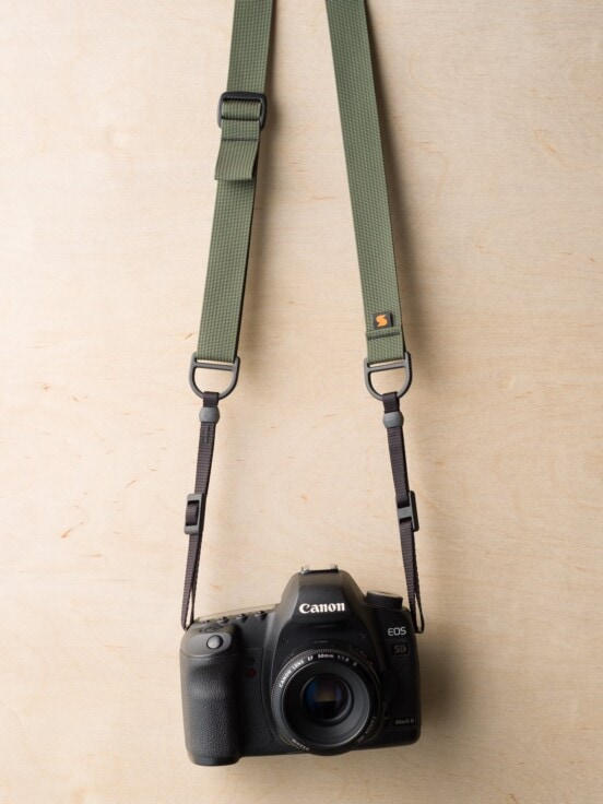 F1 Sling Style Camera Strap on Canon 5D Mk II in Camo Green