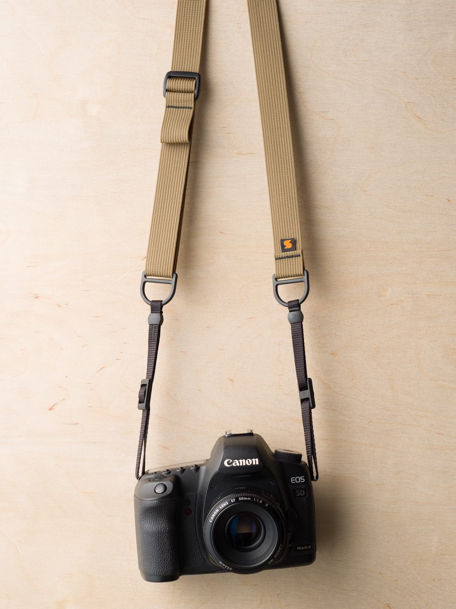 F1 Sling Style Camera Strap on Canon 5D Mk II in Army Khaki
