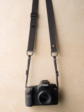 F1 Sling Style Camera Strap on Canon 5D Mk II in Black