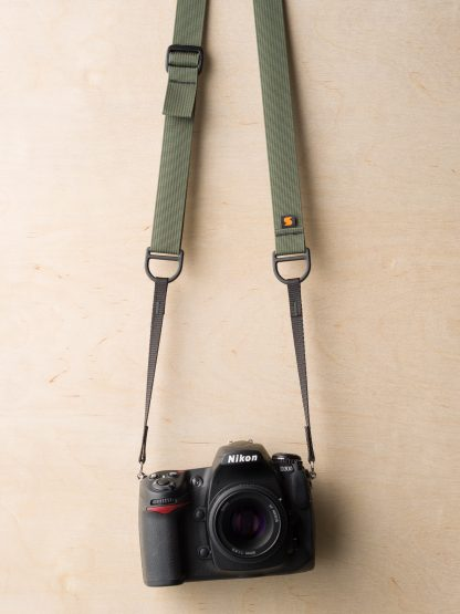 F1 Sling Style Camera Strap on Nikon D300 in Camo Green