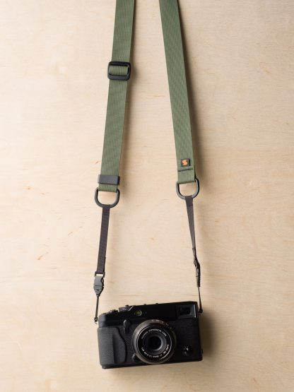 M1ultralight Camera Strap on Fuji X-Pro1 in Camo Green